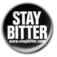 Stay Bitter button, black